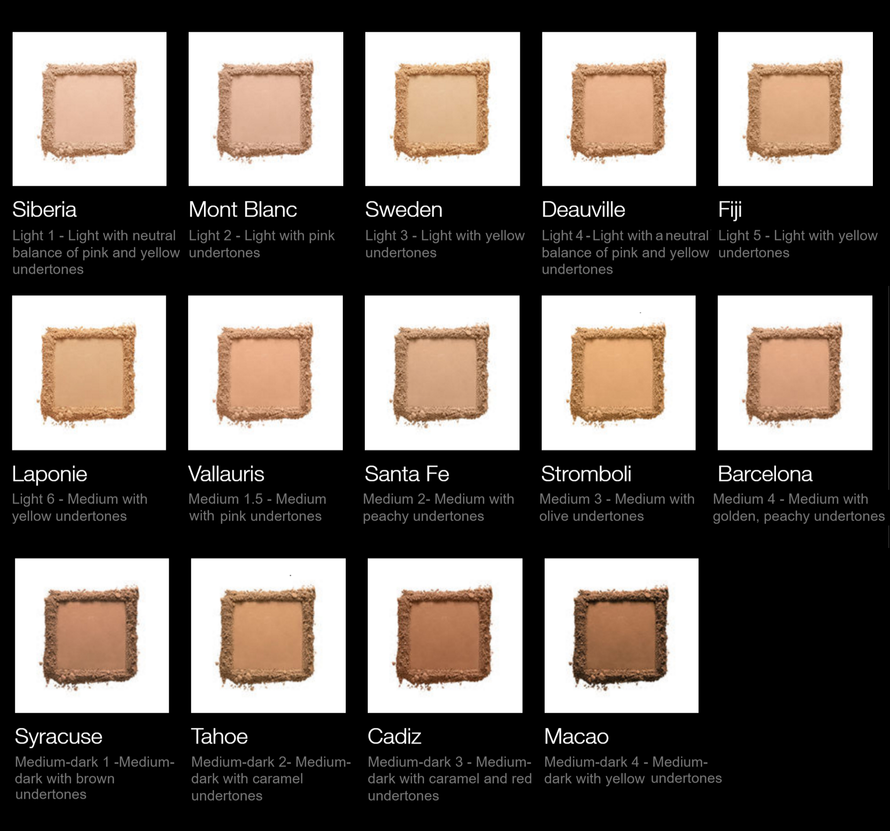 Nars All Day Luminous Powder Foundation SPF24 Color Chart